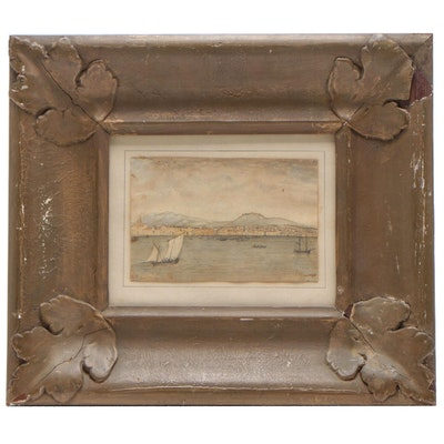 Mid 19th Century Watercolor Painting Harbor Scene