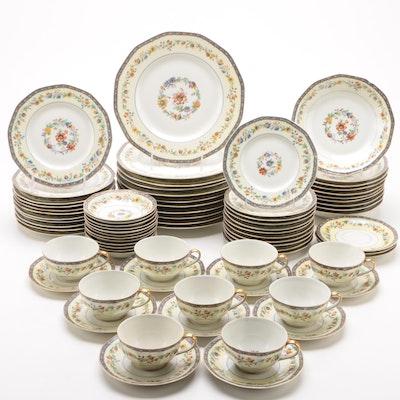 "Theodore Haviland ""Chateaudun"" Porcelain Dinnerware for Nine, Vintage"