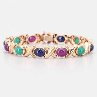 14K Yellow Gold 6.28 CTW Sapphire, 9.23 CTW Emerald, and 9.23 CTW Ruby Bracelet