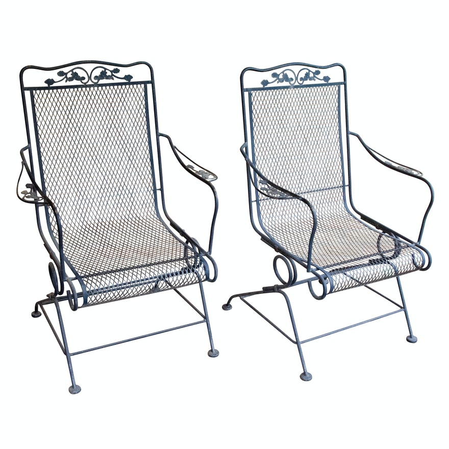 Wrought Iron Mesh Patio Chairs