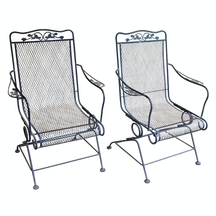 Wrought Iron Mesh Patio Chairs