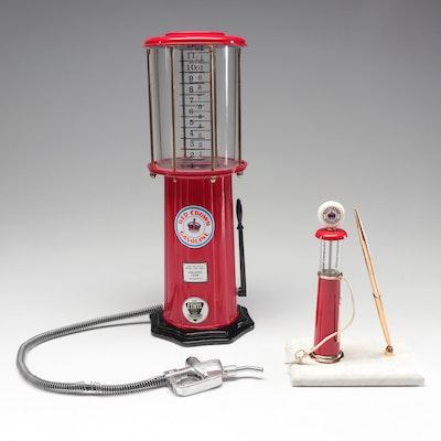 Red Crown Gasoline Gas Pump Drink Dispenser with Pen Holder