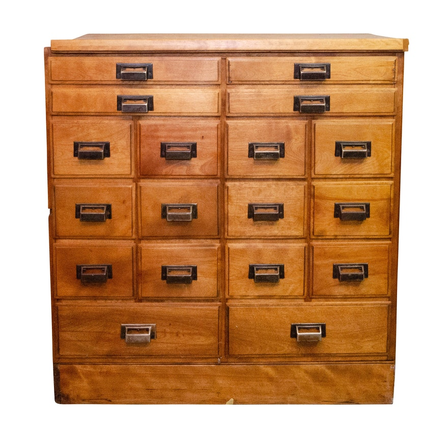 Multi-Drawer Wooden Card Cabinet in Birch, Mid-20th Century