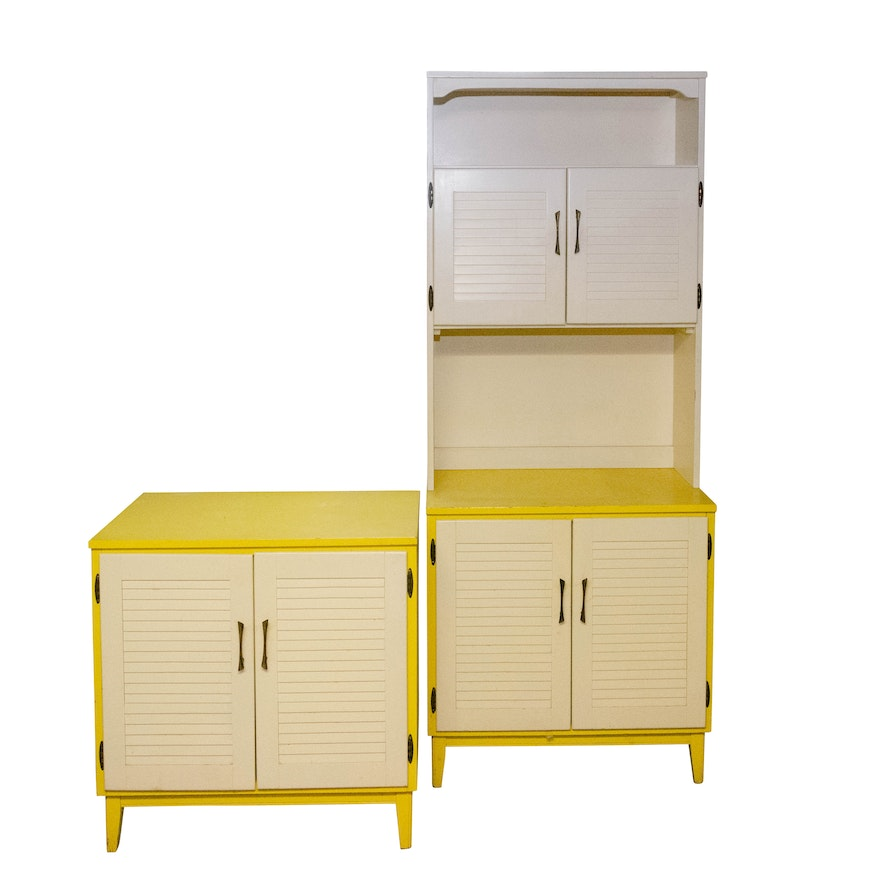 Painted Wooden Bookcase and Side Cabinet, Mid to Late 20th Century