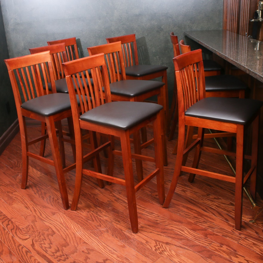 Wood and Leather Barstools, Set of Ten