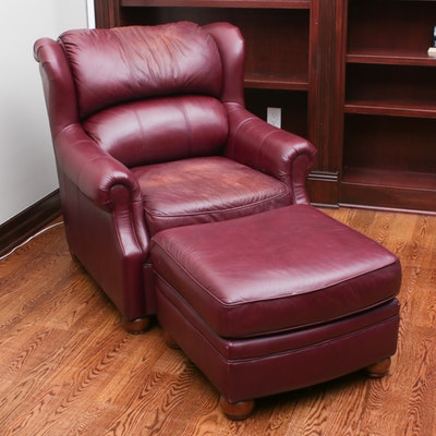 Benchcraft Oxblood Leather Armchair with Ottoman