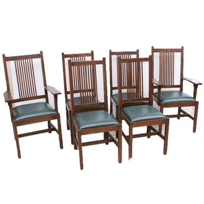 Stickley Oak and Leather Dining Chairs, Set of 6