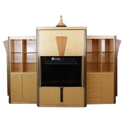 Maple and Figured Wood Veneer Illuminated Media Cabinet