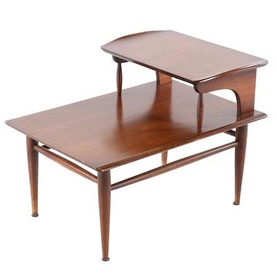 Bassett Mid-Century Modern Two Tiered Walnut Side Table