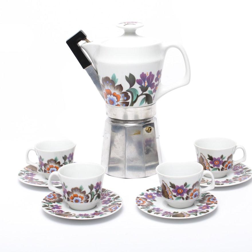Arhosa Espresso Percolator with Ceramic Pot and Drinkware, Mid 20th Century
