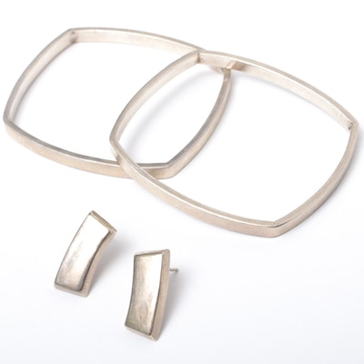 Modernist Sterling Silver Earrings and Bangle Bracelets