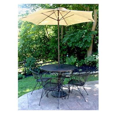 Outdoor Iron Patio Dining Set and Hampton Bay Umbrella