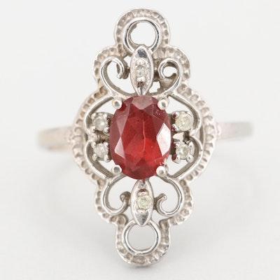 10K White Gold Diamond and Garnet Ring