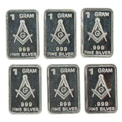 .999 Fine Silver Ingots with Masonic Emblem