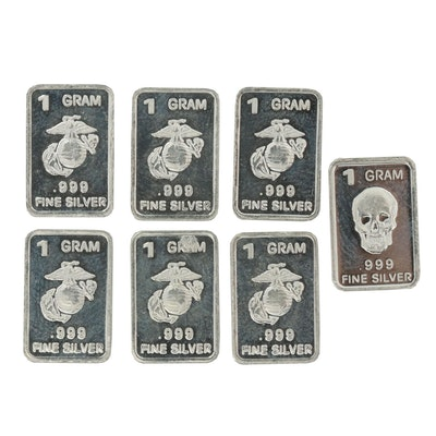 .999 Fine Silver Ingots with U.S. Marines Insignia