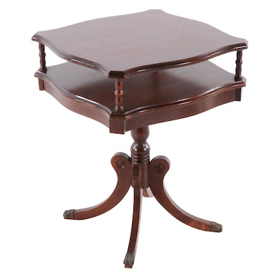 Duncan Phyfe Style Mahogany Two-Tiered Table, Mid-20th Century