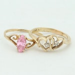 10K Yellow Gold Rings Including Diamonds
