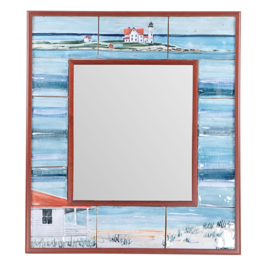 Painted Tile Bay-Themed Wall Mirror, Contemporary