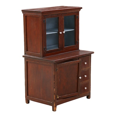Pine Salesmen's Sample Cupboard Cabinet with Porcelain Knobs