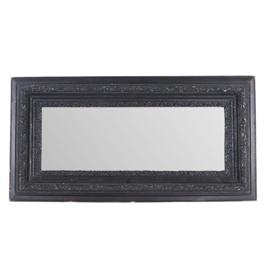 Black Beveled Wood and Gesso Wall Mirror, Mid to Late 20th Century