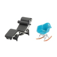 Miniature Furniture, Le Corbusier LC4 Style Chaise and Eames Style Rocker Chair