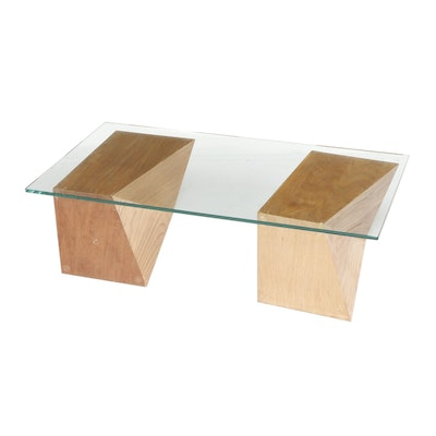 Mid Century Modern Glass Top Coffee Table on Geometric Blocks, Late 20th Century