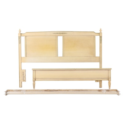 Louis XVI Style Painted Wooden Full Size Headboard and Foot Board