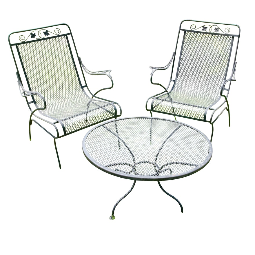Wrought Iron Mesh Patio Chairs and Accent Table