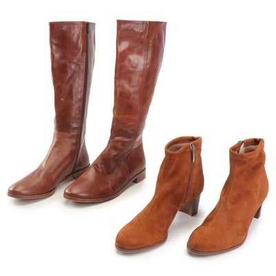 NR Rapisardi Suede Booties and Rive Gauche Leather Boots