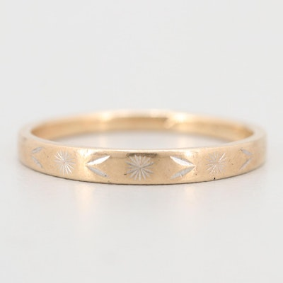 10K Etched Yellow Gold Band