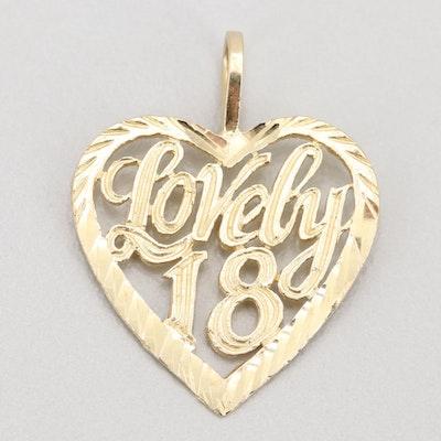 """14K Yellow Gold """"Lovely 18"""" Heart Pendant"""