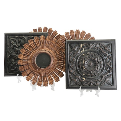 Decorative Accent Mirrors with Wooden Frames