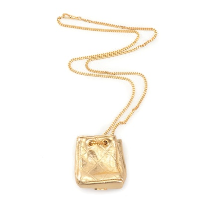 Chanel Gold Tone Quilted Mini Pouch Necklace