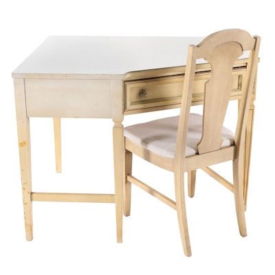 Louis XVI Style Painted Wooden Corner Desk and Chair, Mid to Late 20th Century