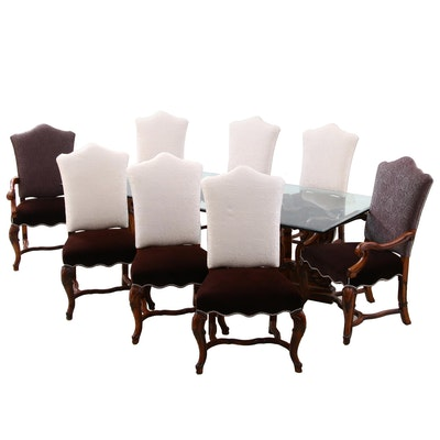 "Henredon ""Castellina"" Glass Top Walnut Dining Table and Chairs, Contemporary"