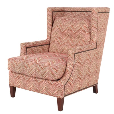 CR Laine Zigzag Print Upholstered Wingback Armchair