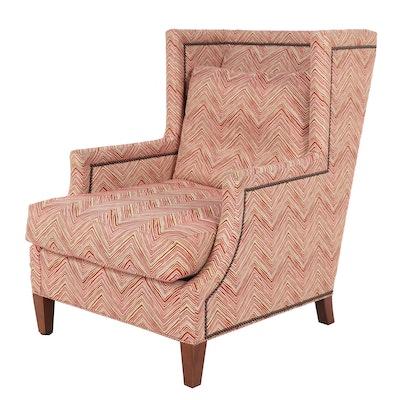 CR Laine Zig-Zag Print Upholstered Wingback