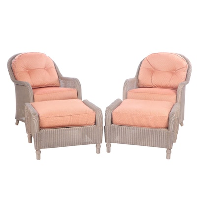 Pair of Lloyd Loom Faux Wicker Patio Chairs with Ottomans, Late 20th Century