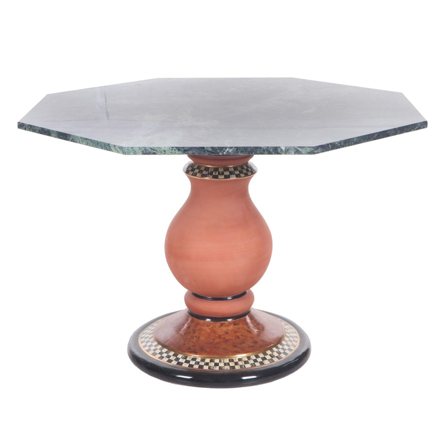 Marble Top Pedestal Table with Stoneware Base After MacKenzie-Childs