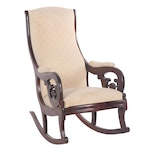 """Victorian """"Lincoln"""" Walnut and Mahogany Upholstered Rocking Chair, 19th Century"""