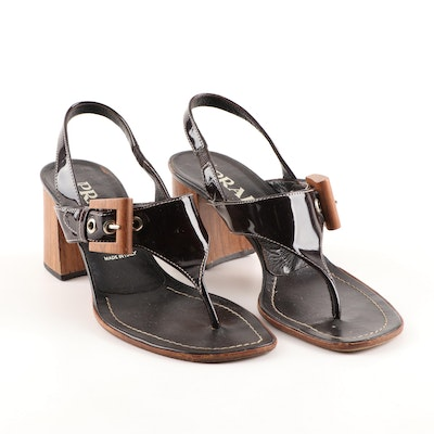 Prada Patent Leather and Wooden Block Heeled Thong Sandals