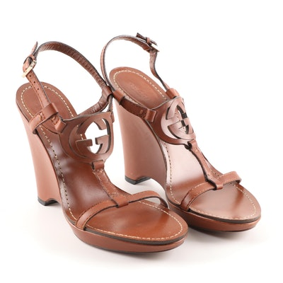 Gucci Brown Leather Wedge Sandals