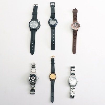 Seiko, Casio, Revolt, Guess, Gia, and Roca Wear Fashion Wristwatches
