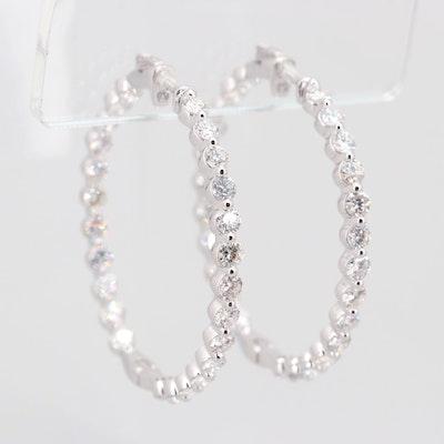 14K White Gold 6.02 CTW Diamond Inside Out Hoop Earrings