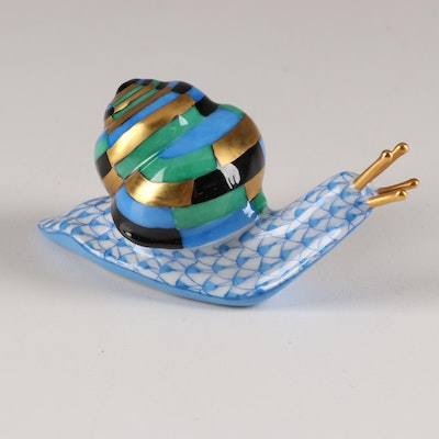 "Herend Blue Fishnet with Gold ""Snail"" Porcelain Figurine"