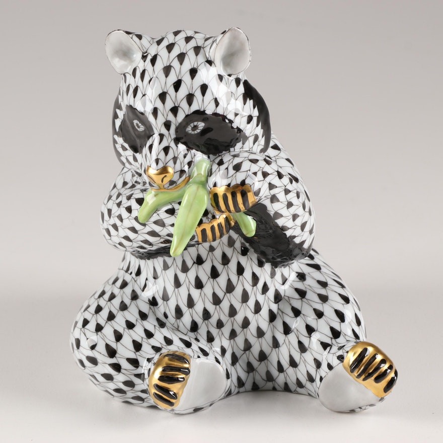 "Herend Black Fishnet ""Panda"" Figurine, Late 20th Century"