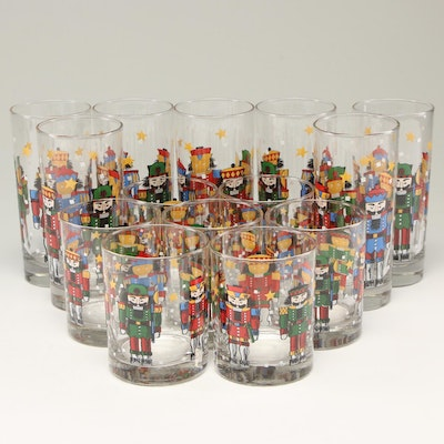 Nutcracker Themed Juice and Water Tumblers, Late 20th Century