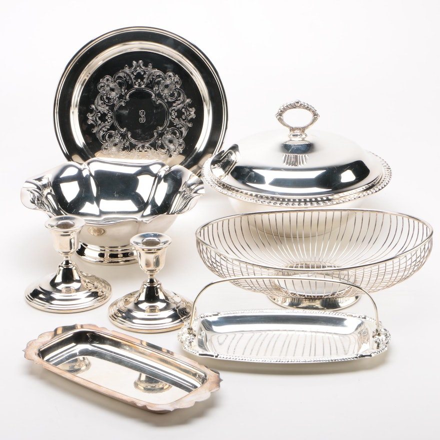 """Plated Silver Serveware Including Reed & Barton """"Salem"""" and Others"""