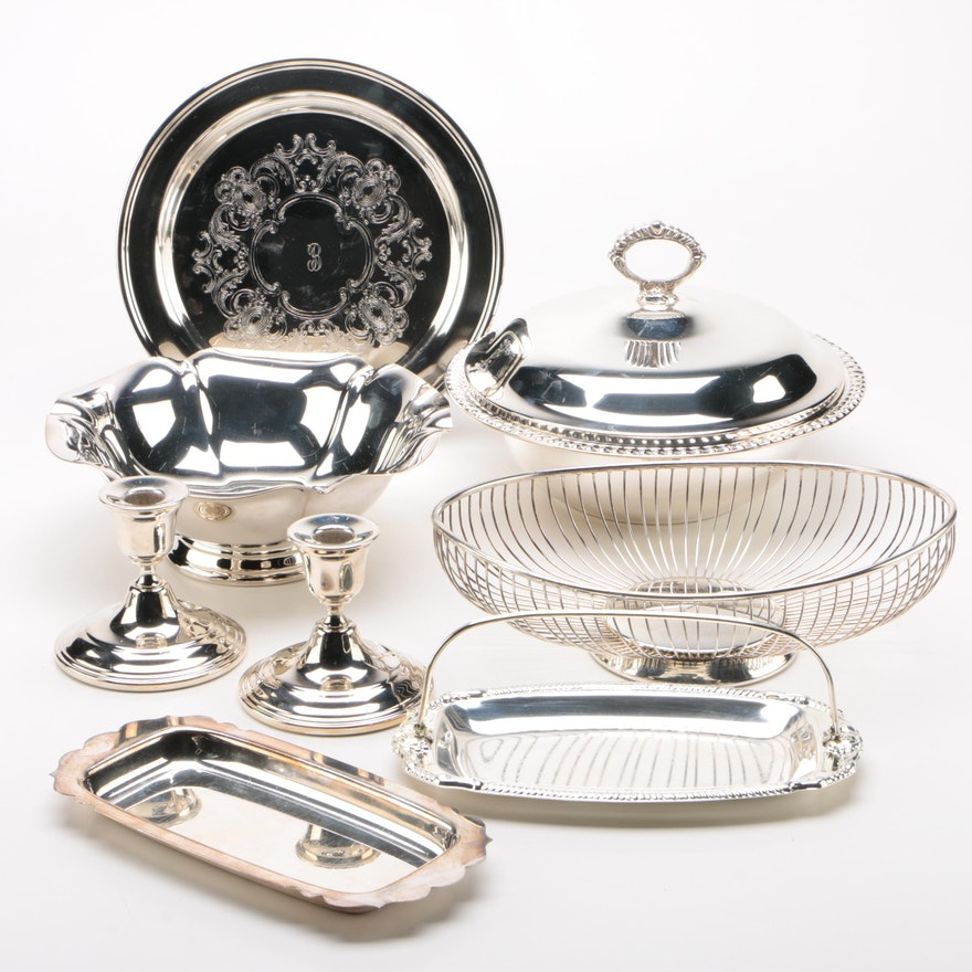 "Plated Silver Serveware Including Reed & Barton ""Salem"" and Others"