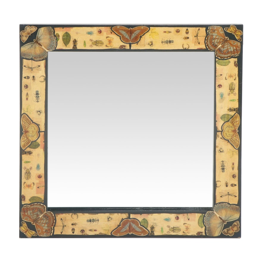 Large Mirror with Butterfly and Insect Themed Collage Decoupage Frame